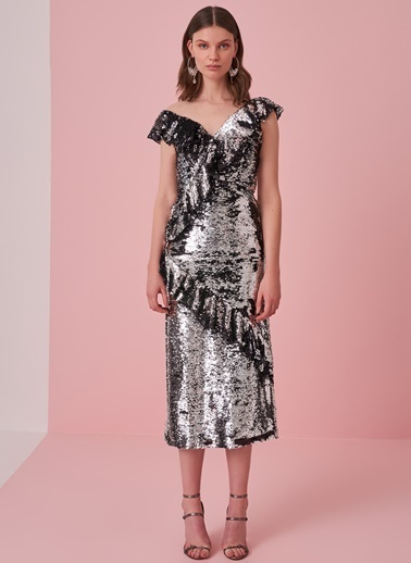 morhipo x dcey Volan Detaylı Payetli Elbise Gümüş